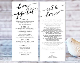 Bon Appetit Wedding Menu Templates, Editable Wedding Menu, With Love Template, DIY Wedding, Printable Wedding Menu Template, DIY Bride