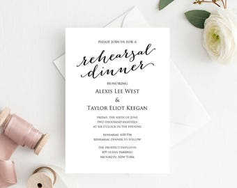 Rehearsal Dinner Invitation Template, DIY Printing, Custom Personalized Invitation, Wedding Rehearsal Invitation Template
