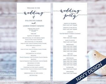 Navy wedding program | Etsy