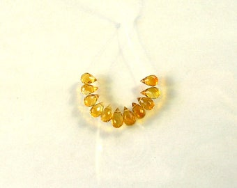 Madeira citrine faceted drop briolette bead AAA+ 5.5-7mm 11pcs