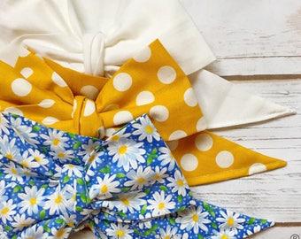Gorgeous Wrap Trio (3 Gorgeous Wraps)- Blanc, Dottie Mustard & Blue Daisy Love Gorgeous Wraps; headwraps; fabric head wraps; headbands