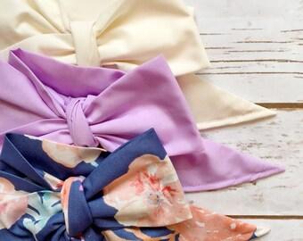 Gorgeous Wrap Trio (3 Gorgeous Wraps)- Ivory, Light Lavender & Royal Blue Floral Gorgeous Wraps; headwraps; fabric head wraps; bows