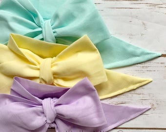 Gorgeous Wrap Trio (3 Gorgeous Wraps)- Pistachio, Daffodil & Lavender Gorgeous Wraps; headwraps; fabric head wraps; bows