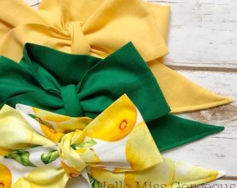 Gorgeous Wrap Trio (3 Gorgeous Wraps)- Vintage Yellow, Forest Green & Sweet Lemon Gorgeous Wraps; headwraps; fabric head wraps; headbands