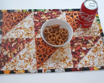 """Man Cave Snacks & Beer Triangular Pieced Quilted Placemats 12"""" x 18"""" Set of 6"""
