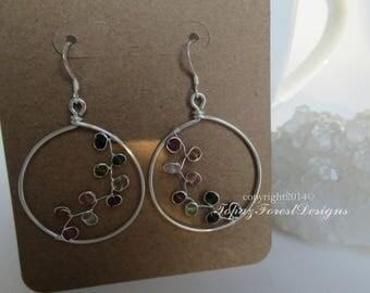 Hoop Earrings ~ Wire Wrapped Tourmaline Hoop Earrings ~ October Birthstone