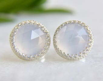genuine natural blue chalcedony 8mm faceted round stud earrings in sterling silver - natural blue chalcedony studs - chalcedony studs - 8mm
