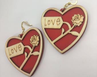 Love Earrings, Heart Earrings, Wood Earrings, Valentine's Day Earrings, Galentine's Day, Red Heart Earrings, Rose Earrings