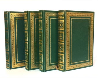 International Collectors Library, Bookshelf Decor, Decorative Book Set, Vintage Books, Classic Book Collection, Green Books, Instant Library