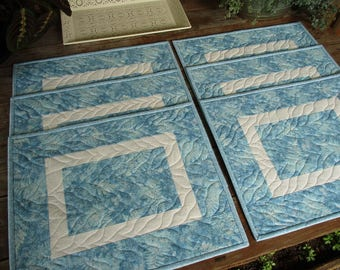 Quilted Placemats, Blue White Placemats, Modern Fabric Placemats, Summer Picnic / Frosty Winter Table Mats, Family Placemats, set of six