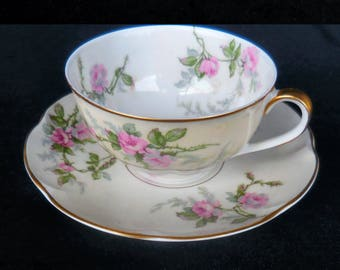Theodore Haviland Limoges Cup & Saucer in the Sylvia pattern