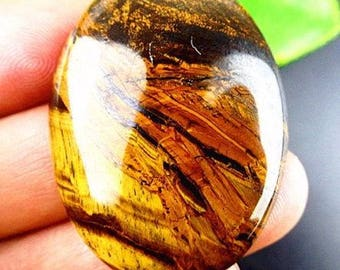 100% Natural brown Tiger eye oval cab.  Brown cabochon pendant size 40x30x6 mm. MMA