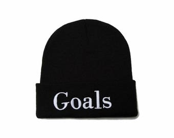 Goals Beanie, Goals Hat, Embroidered Beanie, Beanies with Words