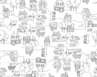 "100% linen ""houses"" crib sheet"