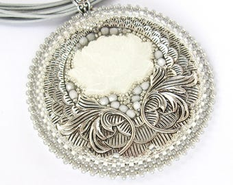 Art deco wedding necklace, white and silver bridal jewelry, White and Silvery pendant necklace, Art deco Necklace, Lotus flower necklace