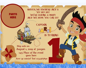 Jake and the Neverland Pirate Invitations. Pirate Invitation. Jake Invitation. Digital (you print)