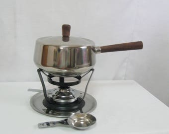 Vintage Stainless Steel Fondue Set in Box Party Guests Fun Fondue SEE Details