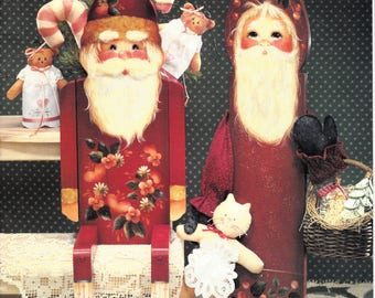 Painting Pattern for Christmas Old Fashioned Santa Angels and Bears Estate Sa;e Crafts