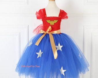 Wonder Woman Tutu Dress. Handmade Tutu. Wonder Woman Costume. Fancy Dress. Superhero Dress. Birthday Party. Halloween Costume. Fancy Dress
