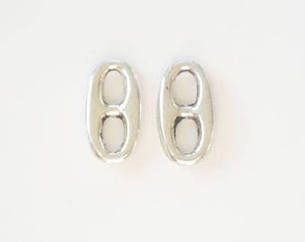Silvery metal rice grain (x 2) connectors
