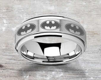 Engraved Batman The Dark Knight Spinner Tungsten Ring Spinning Satin Center Finish & Polished Edges  - 8mm - Lifetime Size Exchanges