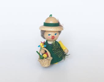 Vintage Steinbach Christmas Ornament Girl With Basket Bird Wooden Ornament Made in Germany