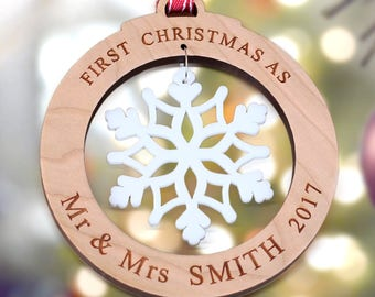Our First Christmas as Mr and Mrs, Snowflake Ornament Married, Wooden Christmas Decoration, Personalised Bauble Gift, Tree Decoration