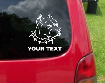 Set (2 Pieces) Pitbull Head Sticker Decals with custom text 20 Colors To Choose From.  U.S.A Free Shipping