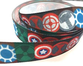 7/8 inch SUPERHERO Circle Design - Super Hero - Super heroes blue red - Printed Grosgrain Ribbon for Hair Bow
