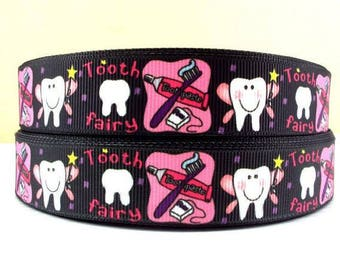 7/8 inch  Tooth Fairy on Black Dentist  -  Printed Grosgrain Ribbon for Hair Bow