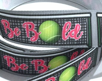 7/8 inch Tennis Be Bold Pink Printed Grosgrain Ribbon for Hair Bow  Sports - Original Design