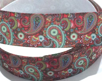 7/8 inch Paisley MultiColor Printed Grosgrain Ribbon for Hair Bow Colorful