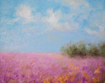 Provence fields, Impressionistic hand painting.