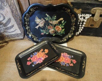 Vintage Toleware Tray / Toleware Platter / Hand Painted Birds Toleware / Home Décor