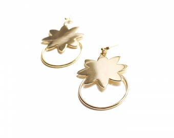 Earrings dangle Sun Creole gold plated or silver