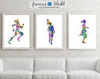 Girl Runner Printable Set of 3, Runner art, Girl runner track and field,female runner Watercolor, track and field poster, runner gift