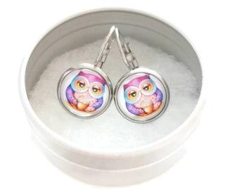 Sleepers cabochons - stem stainless steel - glass 12 mm - multicolor earring - OWL - hypoallergenic / Owls earrings