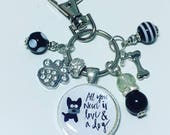 Dog lover keyring dog lover keychain i love dogs All you need is love  a dog