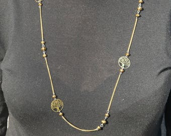 """Necklace with """"tree of life"""" gold color"""