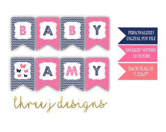 Butterfly Baby Shower Personalized Baby Banner - Navy Blue, Pink and Coral - Digital File - J003