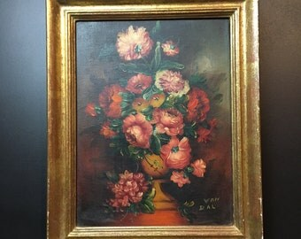 French oil painting on canvas,still life of a bouquet of flowers.  Nice gilt wood frame. Well in the 50s art style. Strong colours.