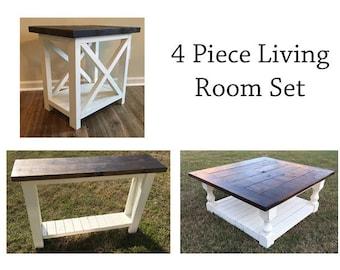 custom 4 piece farmhouse living room furniture setmade to order