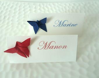 10 mark up Butterfly in blue / red for wedding - christening - birthday - table decoration party