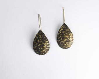 Hammered and blackened brass earrings