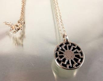 Black sun necklace |Sonnenrad necklace | Schwarze Sonne necklace |Pagan necklace |Pagan symbol |Sun Wheel necklace |esoteric necklace