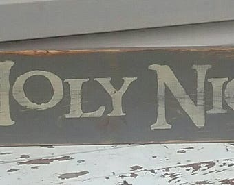 Oh Holy Night Distressed Wood Sign