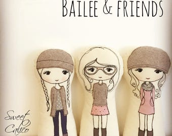 Pattern for 'Bailee & friends' freemotion embroidery cloth doll