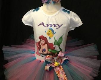 Little girls  handmade little mermaid tutu outfit