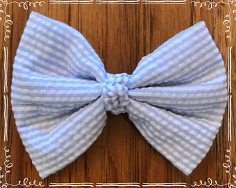 Blue and White Stripe Seersucker Fabric Hair Bow