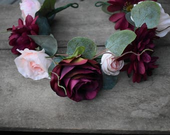 Dog Flower Crown, Wedding Flower Collar,Flower Crown,Dog Flower Collar,Dog Wedding Collar,Burgundy & Blush,Dog of Honor,Dog Wedding Attire